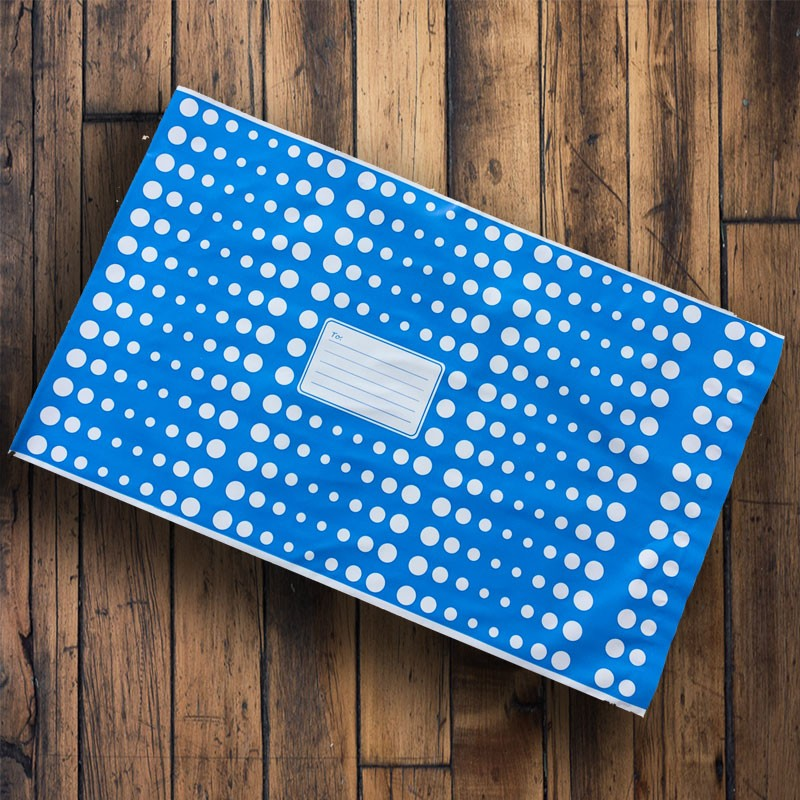 250mm x 350mm - Blue with White Polka Dots